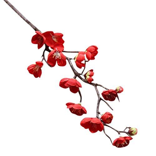 Elegant Künstliches Pflaume Seiden Blumen Home Garden Deko Gefälschte Blumen Hochzeit Bouquet Party DIY kunst Plastikblumen (Rot) (Diy Hochzeit Bouquet)