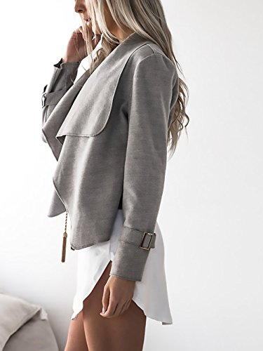 Giacca Donna Elegante Corto Blazer Manica Lunga Giacche Moda Giovane Primavera Bolero Moda Femminile Giubbotto Autunno Outerwear Grigio