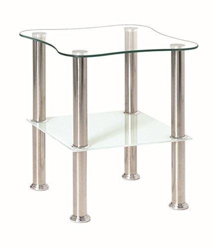 HAKU Möbel 33310 Beistelltisch 40 x 40 x 47 cm, Edelstahl / weiß -
