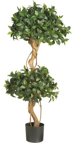 Nearly Natural 5233 Sweet Bay Double Ball Topiary Silk Tree, 4-Feet, Green by Nearly Natural - Ball Topiary Silk