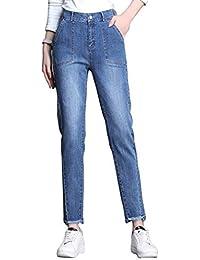 e8c213136 Pantalones Vaqueros Pantalones de cintura alta Nueve pantalones Nueva  versión coreana de los pantalones delgados Harem
