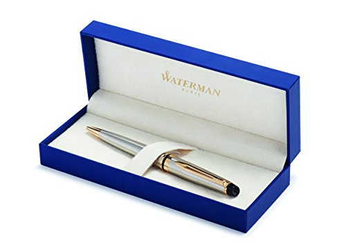 Waterman Expert Penna a Sfera Stainless Steel Gold Trim, Confezione Regalo