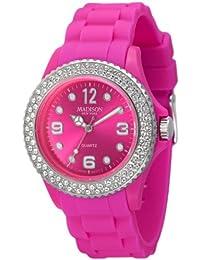 Madison New York Juicy Glamour U4101H5 - Reloj para mujeres, correa de silicona color rosa