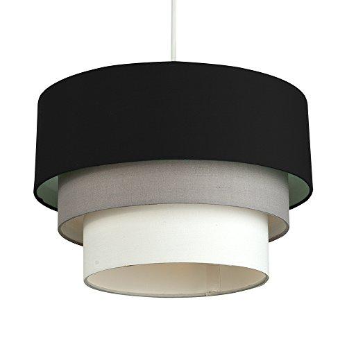 MiniSun - Preciosa pantalla de lámpara de techo colgante - redonda a 3 niveles de tela en turquesa negro, gris y blanco