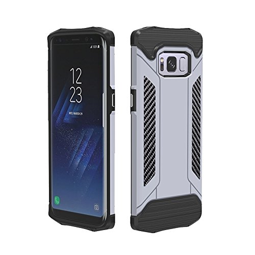 JIALUN- case Samsung Galaxy S8 TPU + PC Helm Kombination Fall Art und Weise kühlen Telefonoberteil Beau et pratique (Color : Silver)