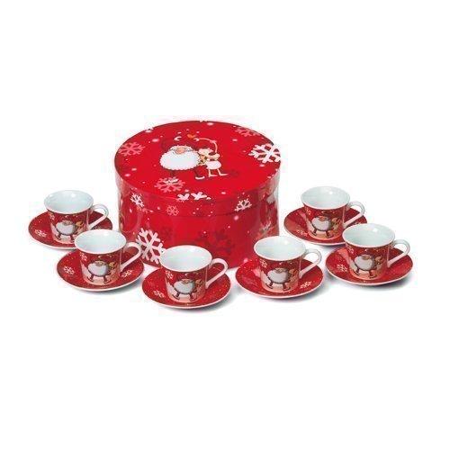 Set 6 Tazzine e Piattini Natalizi Per Caffè Espresso - Babbo Natale & Renna Rudolph