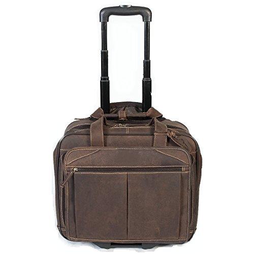 Sibastone 'Freedom' Trolley Bordgepäck Reisekoffer Echtes Büffel-Leder 100 % Handarbeit Herren und Damen , Farbe:Brandy