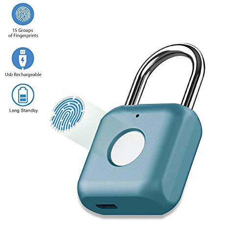 Candado con huella digital Mini candado inteligente Carga USB sin llave Cerradura biométrica de alta...