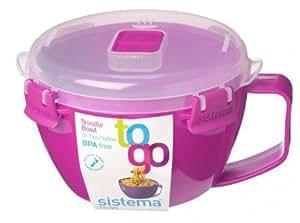 Sistema Boîte en plastique rose Take Away Tasse Bol à nouilles To Go Lunch Box w/couvercle hermétique sans BPA