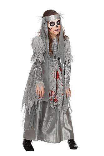 Wilbers Braut Blut Horror Kostüm Kleid Brautkostüm Zombie Grau Halloween Mädchen 116-176 Grau/Rot 140/152 (10-12 Jahre)
