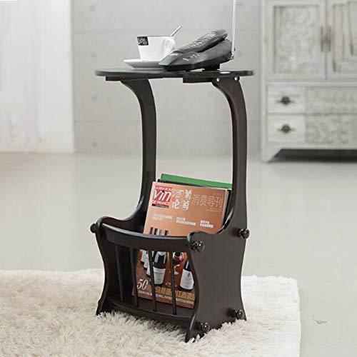 CJC Moderne Conception Rond Café Thé Table Tables D'appoint, Tables D'extrémité, Stockage Grille Salon Meubles (Couleur : Noir)