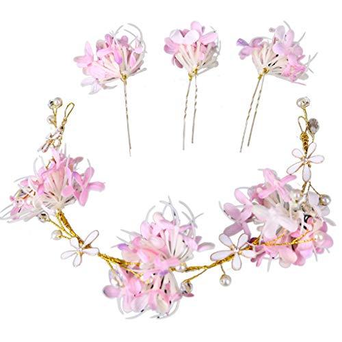 in-Stock-Hochzeit Frauen-Brautblumen Hairpin U Shaped Haarspange Haarband Kopfbedeckung Set Zubehör ()