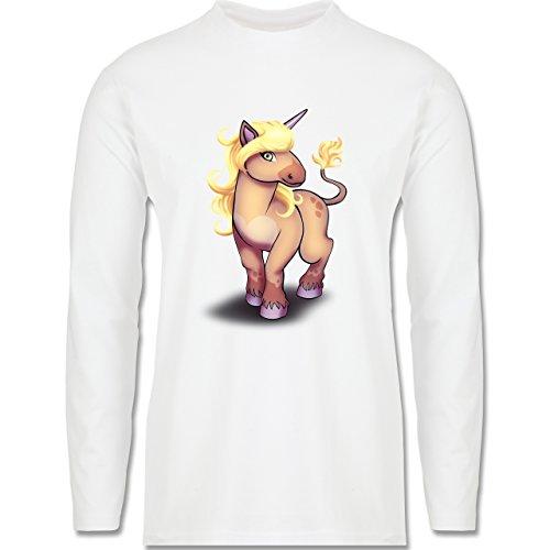 Sonstige Tiere - Einhorn Pony - Longsleeve / langärmeliges T-Shirt für Herren Weiß