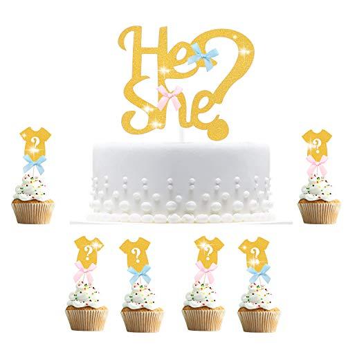 Hifot Kuchendekoration Baby Gender Reveal Party, 30pcs Cupcake Topper Dekorationen, Geschlecht Offenbaren Zeigen Kuchen Lebensmittel Dekoration Gold Tortendeko Kuchenaufsätze (Dekorationen Party Reveal)