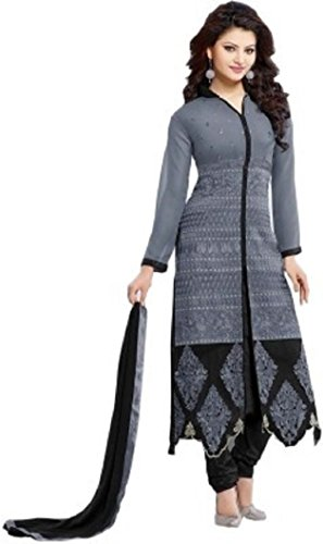 SUNSHINE Grey Color Georgette Fabric Embroidery Salwar - suit (Semi-Stitched)( New Arrival Latest Best Design Beautiful Dresses Material Collection For Women and Girl Party wear Festival wear Special Function Events Wear In Low Price With High Demand Todays Special Offer and Deals with Fancy Designer and Bollywood Collection 2017 Punjabi Anarkali Chudidar Patialas Plazo pattern Suits )  available at amazon for Rs.669