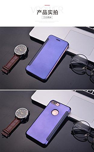 BCIT iPhone 7 Hülle - Luxus Elegant Glitter Smart Flip Ultra Slim Ansicht Galvanisierter Spiegel Hard Clear Transparente Telefon Tasche für iPhone 7 - Marine Blau Marine Blau