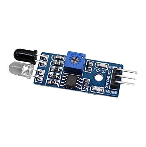 Demarkt 1 Pcs TCRT5000 Module de Capteur Module d'évitement d'obstruction Infrarouge Réflexion IR 2 Capteur de Suivi 30 cm Distance de Détection de Voiture Intelligente Réglable Demarkt