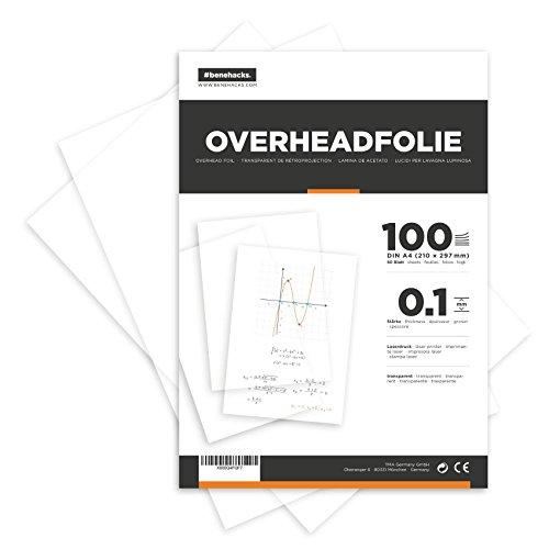 #benehacks® Overheadfolie DIN A4 - 100 Blatt - für Laserdrucker - Premium Qualität - Polyluxfolie