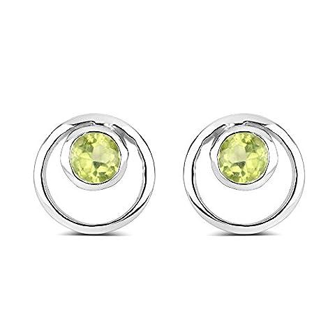 Silvancé - Damen Ohrringe - 925 Sterling Silber - echter Edelstein: Peridot 0.46 ct. - E4853