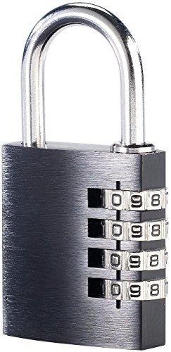 PEARL Zahlenschloss: Vorhängeschloss aus Aluminium, mit 4-stelligem Zahlencode (Vorhängeschloss Zahlen)