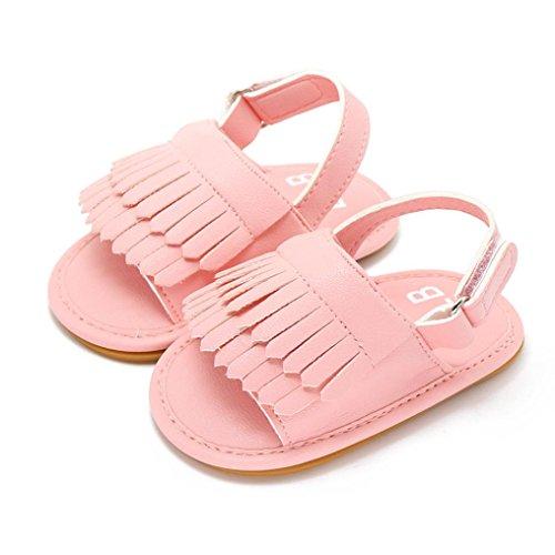 Clode® bébé Glands Ontario princesse bébé premiers marcheurs filles kid chaussures (0~6 M, argent) rose