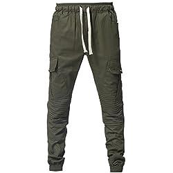 YanHoo Cinturones de sujeción Conjunta de Deporte de Moda para Hombre Pantalones de chándal Sueltos Ocasionales con cordón Pantalones de Jogging Camuflaje Militar