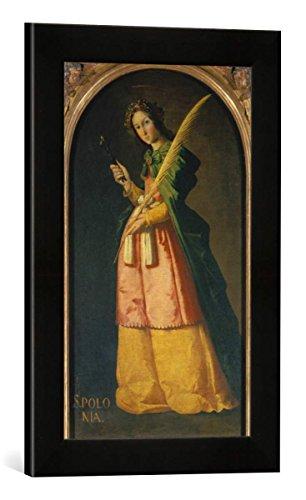 Gerahmtes Bild von Francisco Zurbaran y Salazar Die heilige Apollonia, Kunstdruck im hochwertigen handgefertigten Bilder-Rahmen, 30x40 cm, Schwarz matt