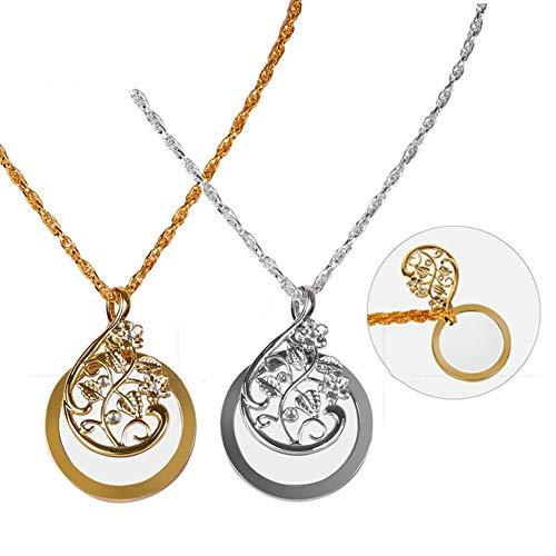 JANEFLY Halskette Lupe Anhänger Strass Anhänger tragbar tragbar Lupe Halskette 4,5-mal kaufen Sie eine erhalten Sie eine gratis (Silber + Gelb)
