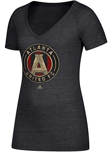 adidas Damen T-Shirt Atlanta United Team Logo Heathered Tri-Blend V-Neck Tee, Damen, schwarz, Medium