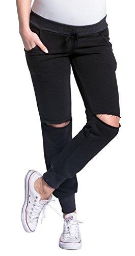 Zeta Ville - Pantalon maternité taille basse déchirures aux genoux - femme 661c Noir