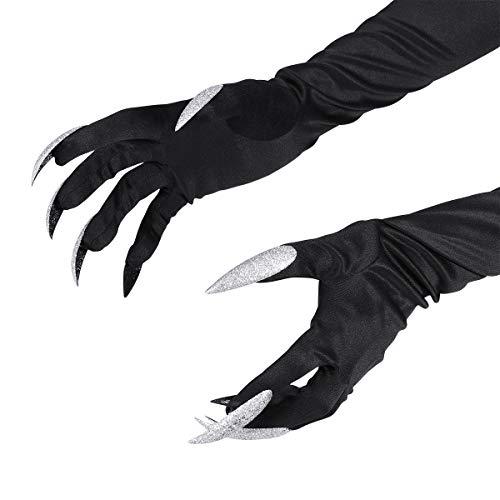 guanti con unghie BESTOYARD Guanti Costume Halloween Attaccato Lungo Unghie Un Paio (Nero)