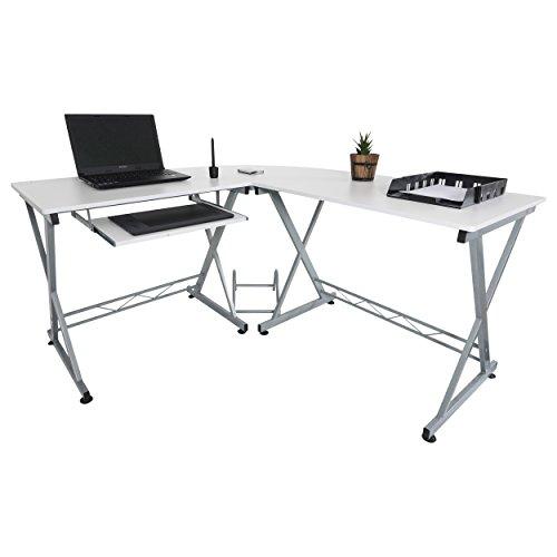 Mari Home - Westfield Bianco Scrivania per ufficio computer Scaffale Ripiani computer desk angolare Tavolo per Computer con ripiano tastiera