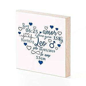 Personalisiertes Namensbild aus Holz mit Wunschnamen als Geschenk zur Geburt oder Geburtstag als Geschenkidee zum Hinstellen oder Aufhängen