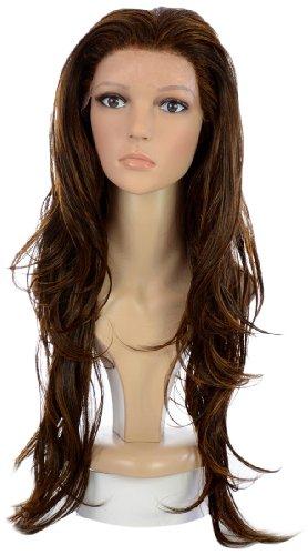 Lange brünette lockige Spitzenfrontperücke | Khloe Kardashian, Mila Kunis (Perücke Wellige Brünette)