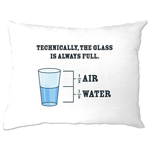 Tim And Ted Neuheit Philosophie Kissenbezug Das Glas ist Immer voll White One Size