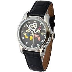 Walt Disney Automatikuhr Edelstahl 3ATM Mickey & Minnie Mouse Swarovski-Steine und Lederarmband