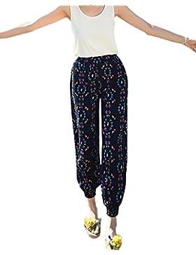 Mujeres Pantalones Harem De Cintura Estampado De Flores Pantalón Suelto Boho Pantalon