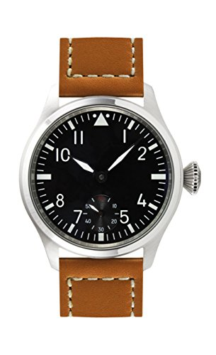 PARNIS 9031 Klassische Edelstahl-Handaufzug-Uhr 47mm Mineralglas Herren-Uhr Fliegeruhr Lederarmband Seagull Markenuhrwerk Kaliber ST36