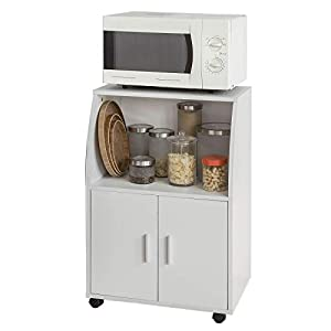 SoBuy FRG241-W Küchenschrank Küchenwagen Rollschrank Getränkewagen Mikrowellenschrank mit 2 Ablagen und 2 Türen weiß BHT ca: 55x84x38cm