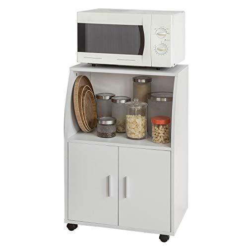SoBuy® Mobiletto per Forno a microonde, Carrello da cucina,credenza con route, FRG241-W,IT