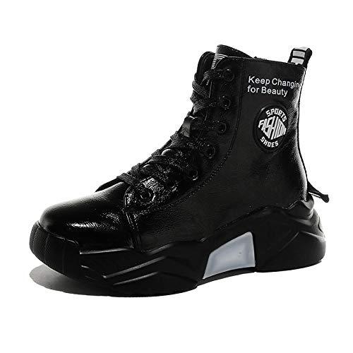 Stivali da Moto Stringati da Donna in Vernice Invernale con Zeppa Zeppa Fodera in Peluche Stivali da Neve con Rialzo Altezza Sneakers robuste - Nero_35