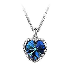 GOMO Crystal Zircon heart Titanic ocean Heart sweater chain Necklace