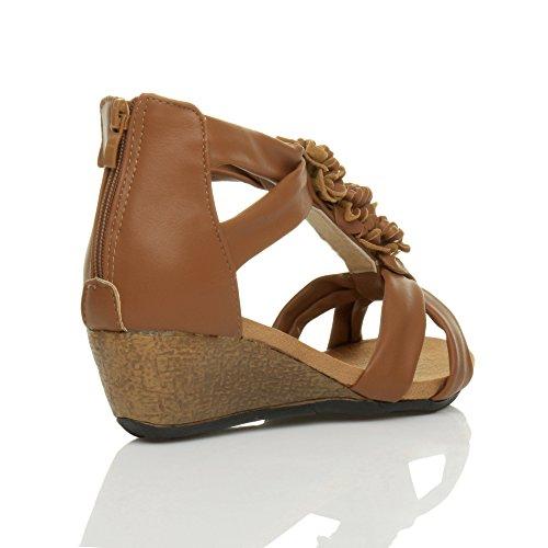 Donna tacco zeppa medio peep toe T Bar fiore con cinturino sandalo scarpa numero Marrone chiaro opaco