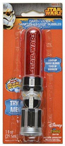 Star Wars Darth Vader Mini Lichtschwert Blasen Zauberstab, mit Bubble Lösung (Lichtschwert Blase Zauberstab)