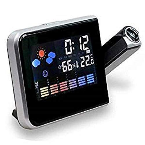 Reloj despertador con pantalla LCD, estación meteorológica y cable USB