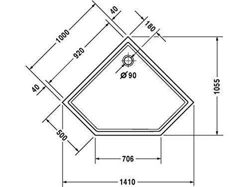 413tS11H3jL - Duravit Plato de ducha Duravit STARCK Slimline pentagon 1000x1000x45mm blanco
