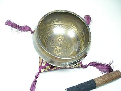 Tibet Klangschale reich verziert mit Kissen und Schlägel ca 400gr