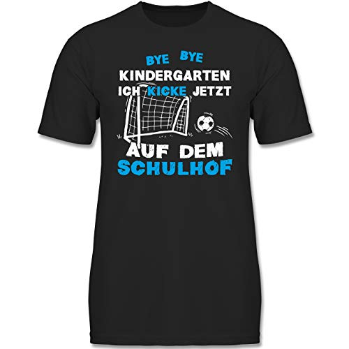 Verrückte Jungs T-shirt (Einschulung und Schulanfang - Bye Bye Kindergarten Einschulung Fußball Blau - 140 (9-11 Jahre) - Schwarz - F130K - Jungen Kinder T-Shirt)
