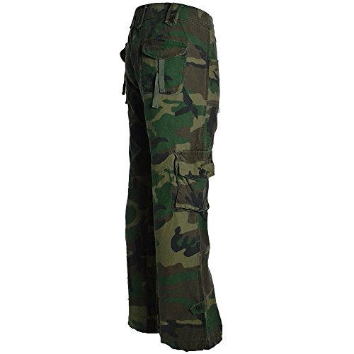 Himalaya-Hipster Cargohose für Damen 45062 - 100% Baumwolle, Premium Qualität Damen-Armee-Stil Kampfhose Euro Waldlancamo