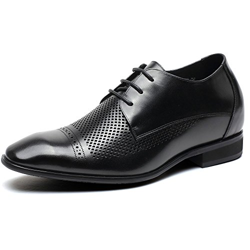 CHAMARIPA Chaussures Ascenseur Hommes Smoothe Cuir Hollow Oxfords Hauteur Augmentant Chaussures 7cm plus grand Noir